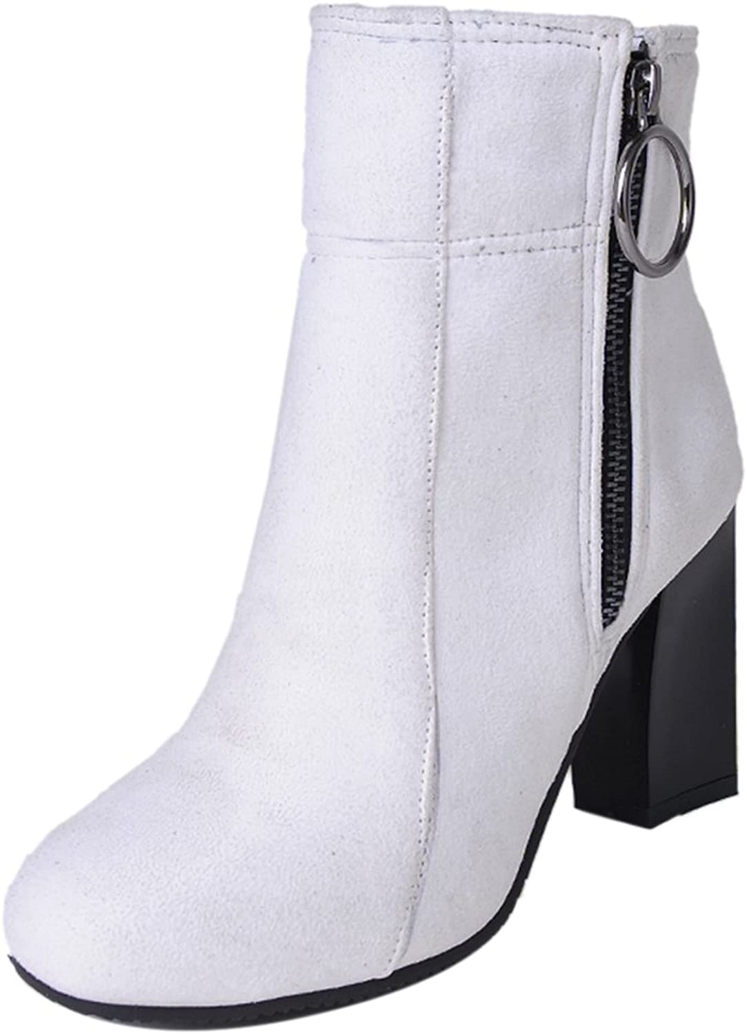 TAOFFEN Women's Ankle Boots with Zipper