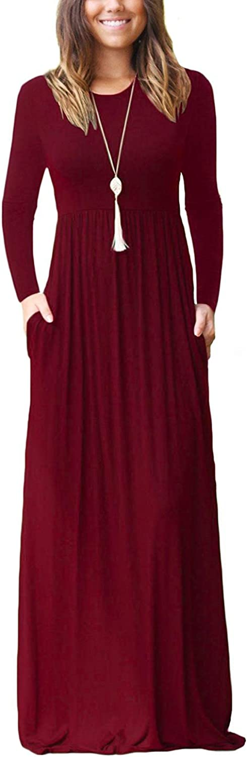 OURS Women's Long Sleeve Loose Plain Maxi Dresses Casual Long Dresses with Pockets