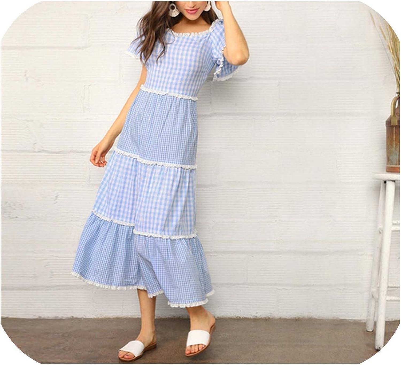 bluee Lace Trim Tiered Mixed Gingham Maxi Dress Women Cotton Puff Sleeve High Waist A Line,