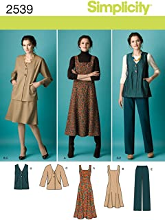 Simplicity Pattern 2539 Misses Jumper in 2 Lengths, Pants and Jacket or Vest Sizes 10-12-14-16-18
