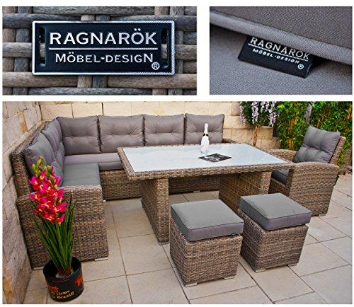 RAGNARÖK hohe Dinning Lounge - DEUTSCHE Marke - 8 Jahre GARANTIE EIGENE Produktion - PolyRattan Gartenmöbel Essgruppe Hocker Sessel verstellbare Lehn Naturfarben Rundrattan - 6