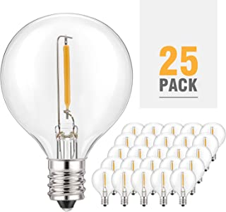 Kohree G40 Led Replacement Bulbs Dimmable Globe Light Bulbs, 1w 2200K Outdoor for Patio G40 Edison Globe String Lights, E12 Base for Party Decor,25Pack, Weatherproof