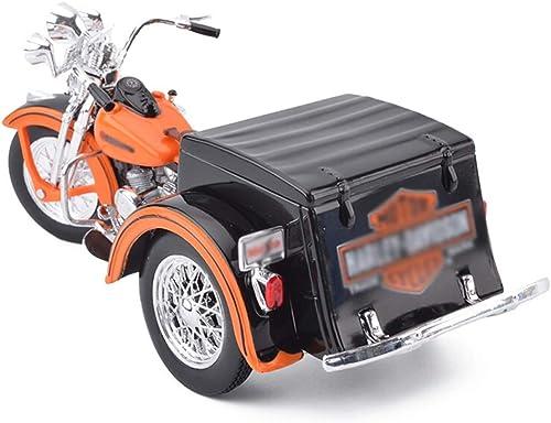 Modèle de Voiture Jouets pour Enfants 1 18 - Collection de modèles de Simulation de Moto en métal à Trois Roues ( Couleur   Orange )
