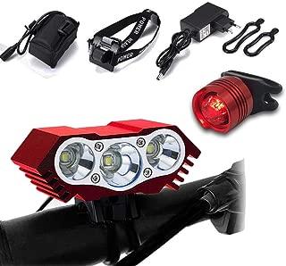 Luz de Bicicleta, Luz Frontal Bici Luces Bicicleta Delantera y Trasera Impermeable Luz de Flash al Aire Libre 7500 Lumen 3 LED para Carretera y Montaña - Seguridad para la Noche Ciclismo