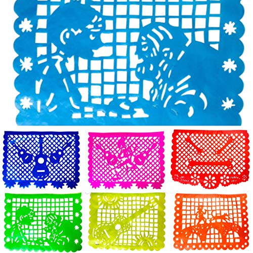 TexMex Fun Stuff Coco Inspirierte Papier Papel Picado, Regenbogen-Farben, Mexikanisches Party Zubehör, Banner Dekorationen 2er Pack, 9 m…