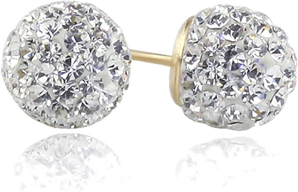 14K Yellow Gold Crystal Ball Stud Earrings Screwback (Available 6mm, 8mm)