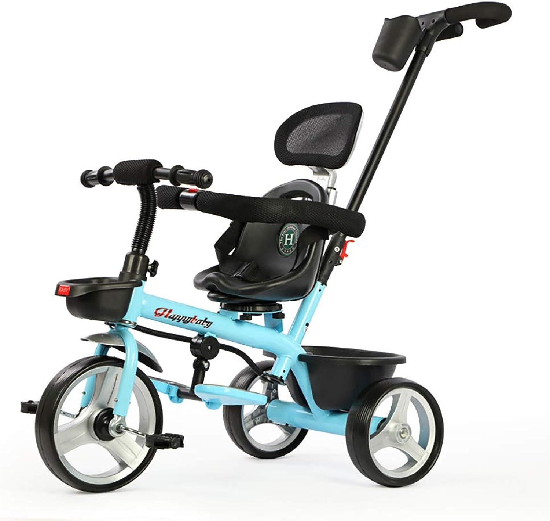 Cpippo Fahrrad Kinder Dreirad ab 1-6 Jahr Kinderwagen 3 in 1 Laufrad ab 2 Jahre Junge mit Verstellbarer Griff und Vorne Silent Shock Absorber Titan Leerlaufrad Kann 50kg Tragen,Blau