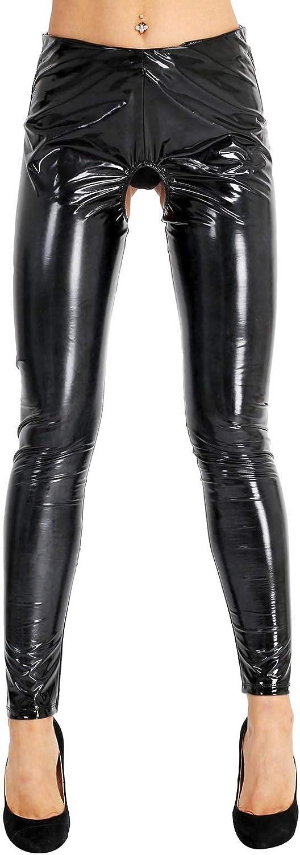 Freebily Women's Wet Look PVC Leather Open Crotch Butt Trousers Skinny Long Leggings Pants Clubwear