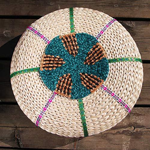 WEWE Indiase handgemaakte vintage stoel kussens, patchwork Boho chic Bohemian hand geborduurd voet krukje ronde vloer kussens kussen Ottomaanse