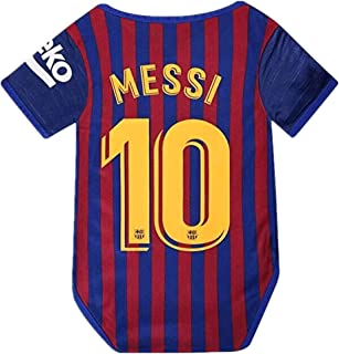 Barcelona Home #10 Messi Baby Suit Soccer Bodysuit Infant & Toddler Onesie Red