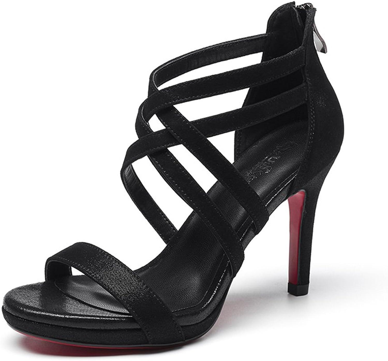 WANGXIAOLIN Wild läder Lady Sexy Sexy Sexy Roman hög klack Sandals (färg  svart, Storlek  39)  märken online billig försäljning