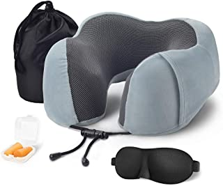 Ihoming Travel Pillow 100% Memory Foam Neck & Head Support Pillow with Eye Masks Earplugs and Bag Sleeping Rest Cushion for Airplane Car Home Use Bice