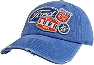 Iconic Patch Distressed Dad Hat Ford, Royal (FORD-1714A)