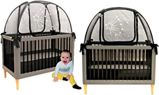 Twin Pack 2 Popup Crib Tents Baby Crib Safety Pop up Tent - Premium Net Cover Crib Tent to Keep Baby from Climbing Out - See Through Black Crib Netting - Nursery Mosquito Net Baby Bed Canopy Netting