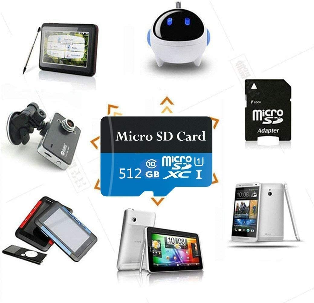 512GB Micro SD Card Class 10 Memory Card High Speed SDXC Card with Adapter, Designed for Android Smarphones, Tablets and PCs