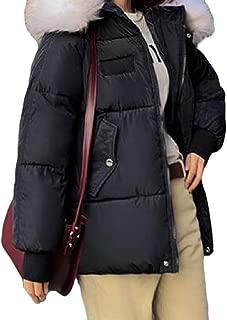Womens Casual Zipper Pockets Hooded Warm Long Sleeve Thicken Short Down Overcoats Coat Outwear