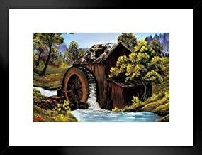 Poster Foundry Bob Ross The Old Mill Art Print Painting by ProFrames Framed Matted in Black Wood 20x26 inch Black 253401