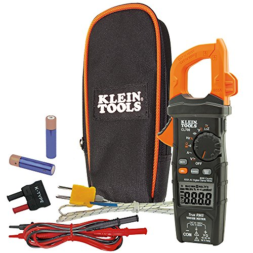 Klein Tools CL700 AC Auto Ranging 600 Amp Digital Clamp Meter, Temperature, Capacitance, Frequency/Low Impedance
