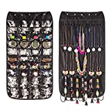 Double-Sided Hanging Jewellery Organiser 40 Pockets & 20 Hook-and-Loop Tabs Earrings Necklace Bracelet Wardrobe Storage Organiser Accessory Holder Storage Bag with Hanger(Black)