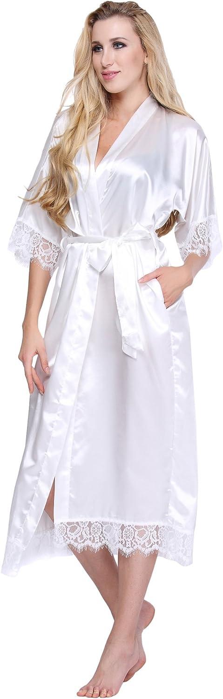 Expressbuynow Women's Kimono Robe Long Silk Bridesmaid Robe with Lace Trim