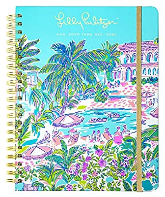 Lilly Pulitzer Jumbo 2020-2021 Planner Weekly & Monthly, Dated Aug 2020 - Dec 2021, 17 Month Hardcover Agenda with Notes/Address Pages, Stickers, Pocket, Laminated Dividers, Island Hopping Toile