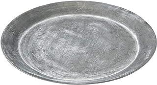 SPICE OF LIFE(スパイス) 皿 ブリキ ラウンドトレイ アンティーク風 マットシルバー XLサイズ 直径21.5cm BAGT1645