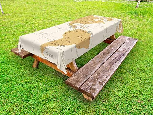 ABAKUHAUS Venezuela Tafelkleed voor Buitengebruik, Noord-Zuid-Amerika Kaart, Decoratief Wasbaar Tafelkleed voor Picknicktafel, 58 x 104 cm, Zand De bruine
