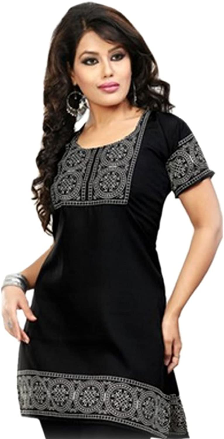 1545 Designs Women's Plus Size Black Tunic Neck Embroidered Top Dress