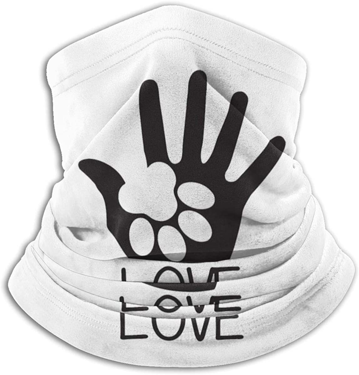 Dog Paw Love Black Multi-function Neck Warmer Gaiter Polyester Neck Warmer Windproof Winter Neck Gaiter Cold Weather Scarf For Men Women