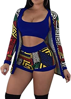 FSSE Womens African Print 3 PCS Outfits Tank Top and Bodycon Shorts and Cardigan Coat