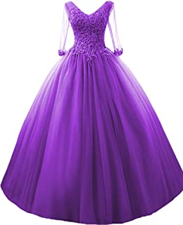3/4 Sleeves Prom Quinceanera Dresses Appliques Ball Gown Formal Dress
