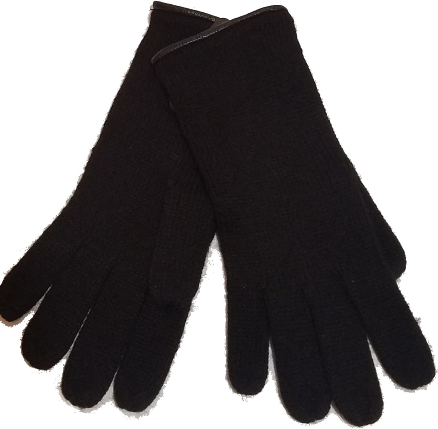 Michael Kors Leather Trim Gloves, Black