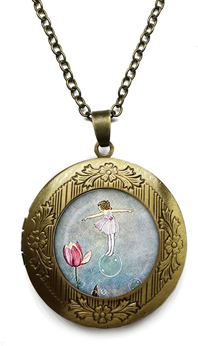 Vintage Bronze Tone Locket Picture Pendant Necklace Flower Lover Included Free Brass Chain Gifts Personalized