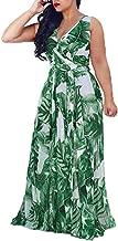 Women's Casual Daily Women Sleeveless Stylish Chiffon With Belt V-Neck Printed Floral Maxi Dress (Green, XXXL)