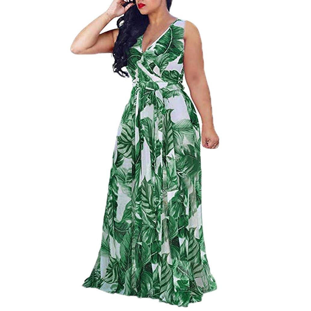 修正ミサイル北へSakuraBest Womens Sleeveless Stylish Chiffon Dress With Belt V-Neck Printed Floral Maxi Dress
