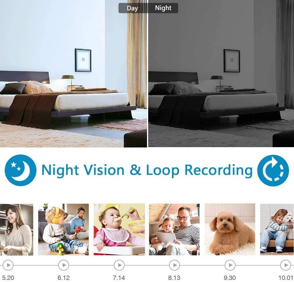 FiveSky 1080P HD D/étecteur De Fum/ée avec Cam/éra Cach/ée WiFi P2P WiFi,Mini Cam/éra Cach/ée Spy,D/étection Mouvement pour La S/écurit/é /À Domicile Et Les Applications Surveillanc