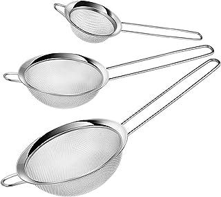 Swify - Juego de 3 coladores de malla fina de acero inoxidable, colador de alimentos con mango largo para cocina, té, café...