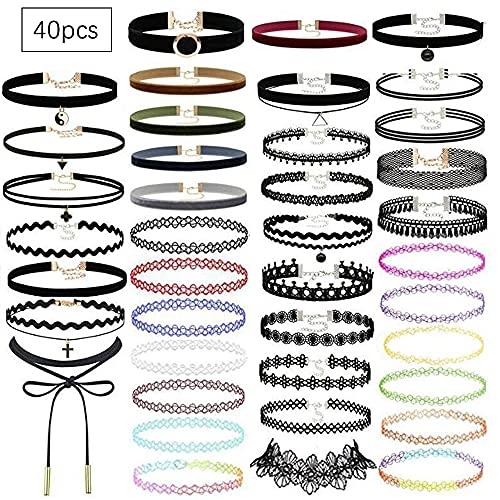 Aloces Set di 40 collane choker, collana in velluto, girocollo gotico, colore nero, per donne e ragazze, per feste