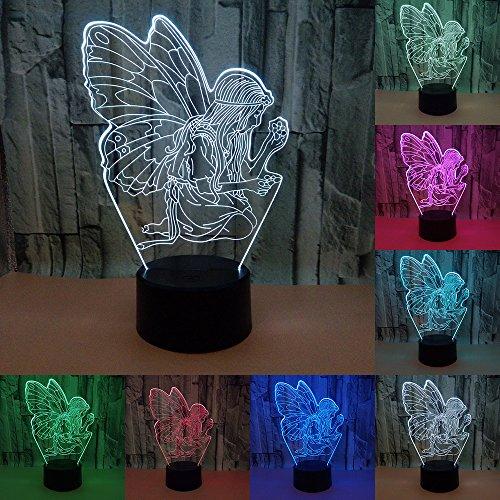 RUMOCOVO® Ángel Niña 3D LED Luz De Noche 3D Lámpara Táctil 7 Colores LED Lámpara Visual...