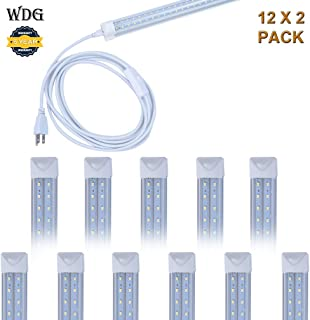 24 Pack T8 Led Integrated V Shaped 8FT 75W Tube Light, Utility Linkable 8 Foot Under Cabinet Lamp, White Daylight 6000k 5 Years' Warranty Garage Lights, Indoor Shop Lighting with On/Off Switch Cable
