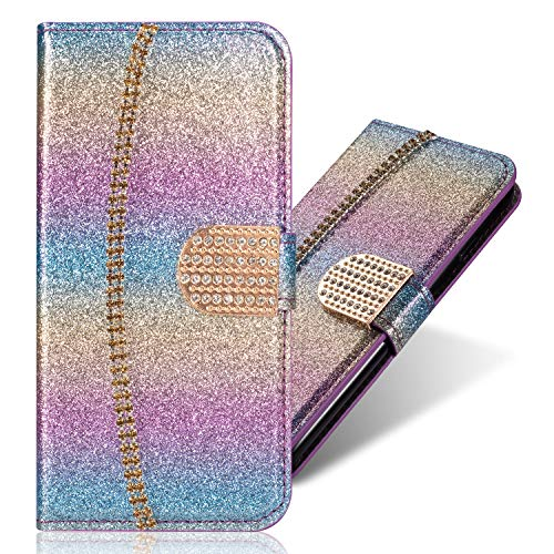 Stand Funktion für iPhone 6S iPhone 6, Diamond Sparkle Billig Glitter Glitzer Musterg Soft Slim Retro Flip Ledertasche Bookstyle Karteneinschub Magnet Wallet Hülle Schutzhülle