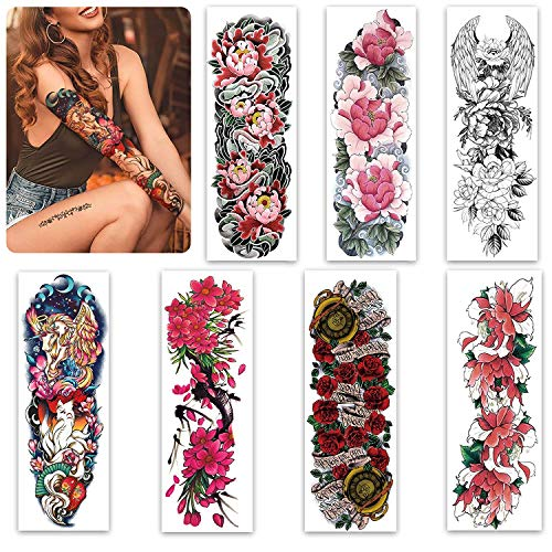 Sleeve Tattoos for Women Teens Girl and Kids,Full Arm Leg Temporary Tattoo Flowers,Long-Lasting and Waterproof Body Art Realistic Tattoo Stickers
