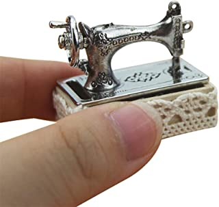 SGYH Mini Sewing Machine Set Miniature Craft Scene Model for 1:12 /1:6 Scale Dollhouse Furniture Decorative Doll House Accessories (Silver)