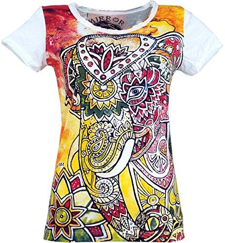 Guru-Shop Mirror T-Shirt, Damen, Elefant/Weiß, Baumwolle, Size:M (38), Bedrucktes Shirt Alternative Bekleidung