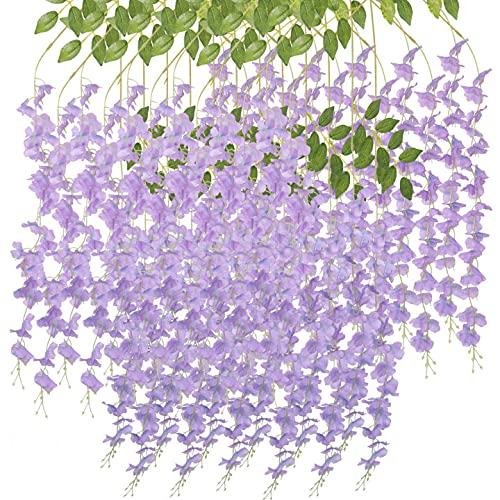 Flores artificiales Wisteria Vine 12 tallos de flores artificiales para decoración de bodas, fiestas en el jardín, decoración interior y exterior (12, morado)