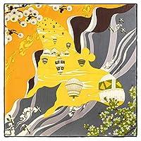 カラフルな熱気球の花はスクエアスカーフ、ファッションレディースネッカチーフバンダナ、日常生活、結婚のための女性大スタイリッシュなスカーフショール、90センチメートル、旅行、誕生日プレゼントを印刷します (Color : 01)