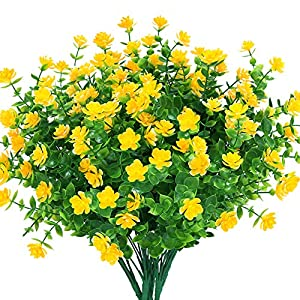 TEMCHY Artificial Flowers, Fake Outdoor UV Resistant Boxwood Shrubs Faux Plastic Greenery Plants for Outside Hanging Planter Patio Yard Wedding Indoor Home Kitchen Farmhouse Decor(Yellow)
