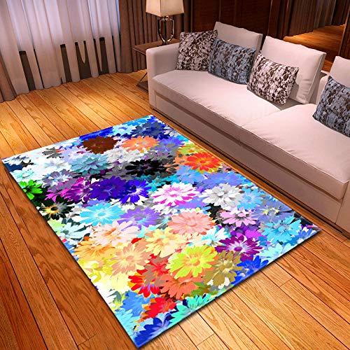 JRLTYU Tappeti Antiscivolo Fiori Colorati Rosa Gialli Blu Tappeto Stampato in 3D Tappeto Peloso Soggiorno,per Soggiorno,Camera da Letto,Sala da Pranzo Decorazioni 120 x 170 cm