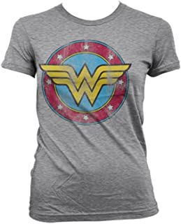 WONDER WOMAN Officially Licensed Distressed Logo Womens Tee