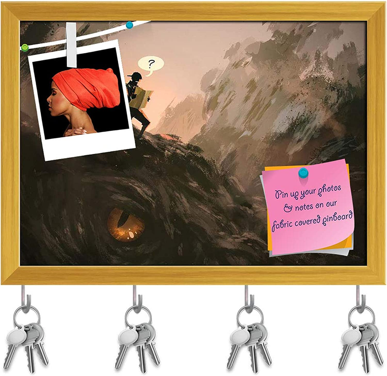 Artzfolio Lost Hiker with Backpack Looking at Map Key Holder Hooks   Notice Pin Board   golden Frame 8.1 X 6Inch